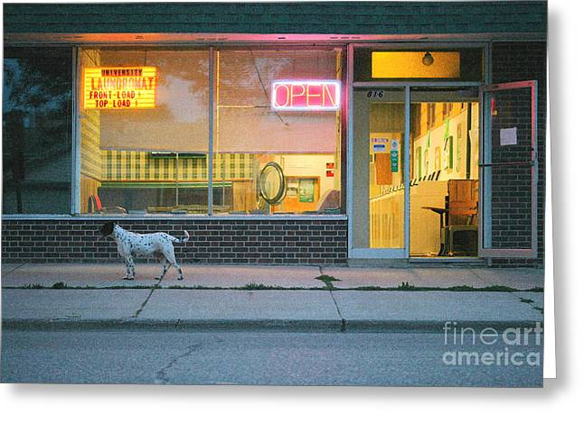 Laundromat Open Greeting Card by Steve Augustin
