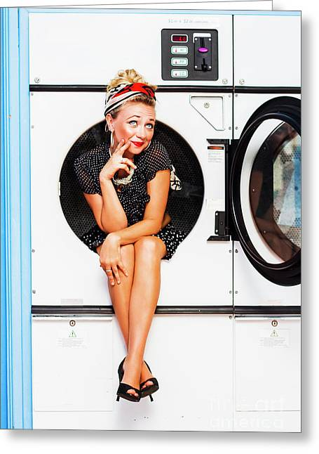 Laundromat Pin-up Portrait Greeting Card by Jorgo Photography - Wall Art Gallery