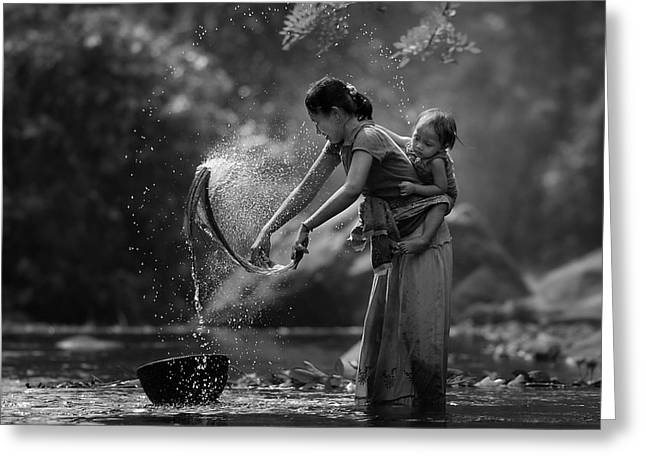 Laundry Greeting Card by Asit