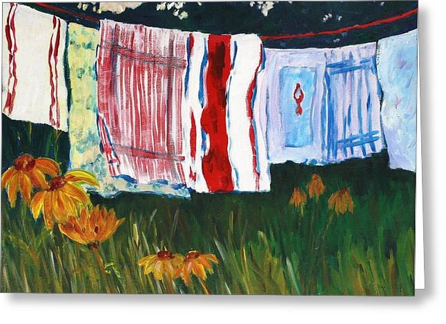 Laundry Day At Le Vieux Greeting Card