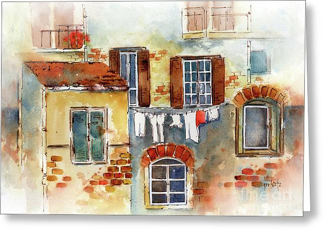 Laundry Day In Europe Greeting Card