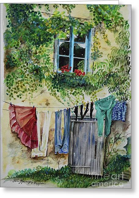Greeting Card featuring the painting Laundry Day In France by Jan Dappen
