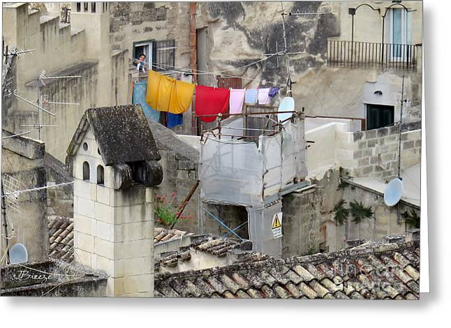 Laundry Day In Matera.italy Greeting Card