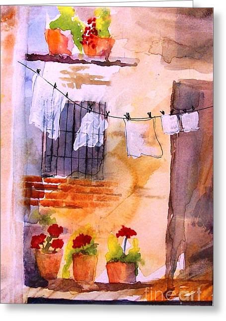 Laundry Day Greeting Card by Sandi Stonebraker