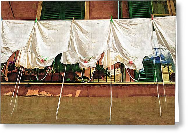 Laundry Day The Italian Way Greeting Card by Lynn Andrews