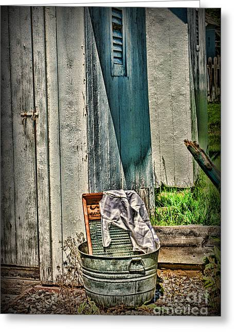 Laundry Day The Old Fashion Way Greeting Card by Paul Ward