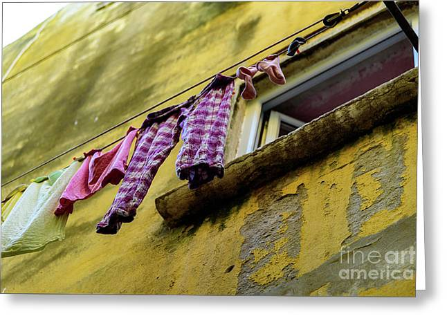 Laundry Hanging In Rovinj, Croatia Greeting Card