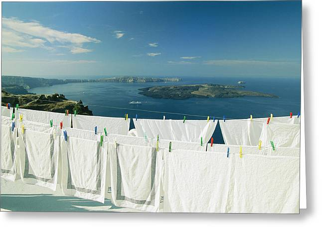 Laundry Hanging Out To Dry Greeting Card by Michael Melford