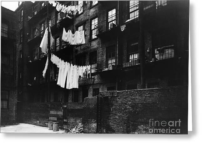 Laundry Hanging To Dry In City, C.1930s Greeting Card