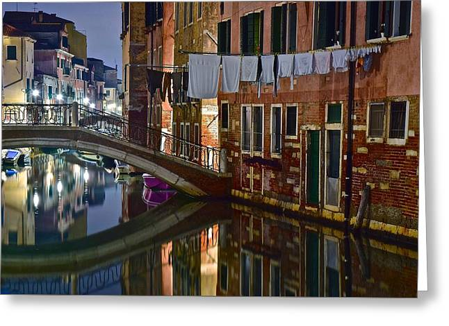 Laundry Night Greeting Card by Frozen in Time Fine Art Photography