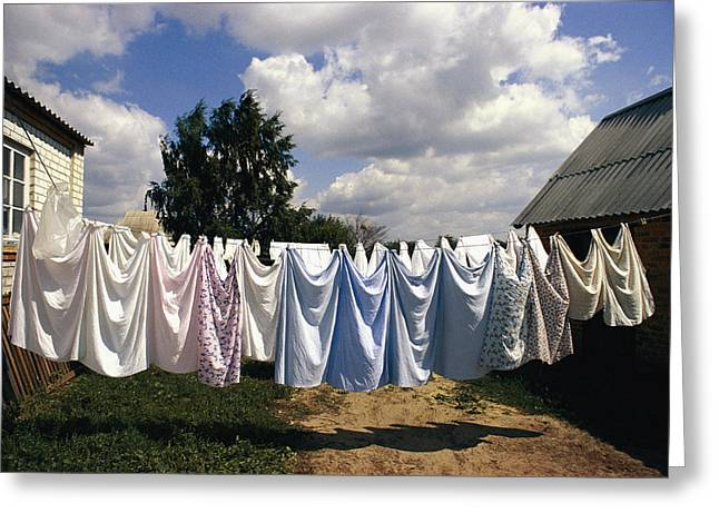 Farmers And Farming Greeting Cards - Laundry On A Clothesline Greeting Card by Steve Raymer