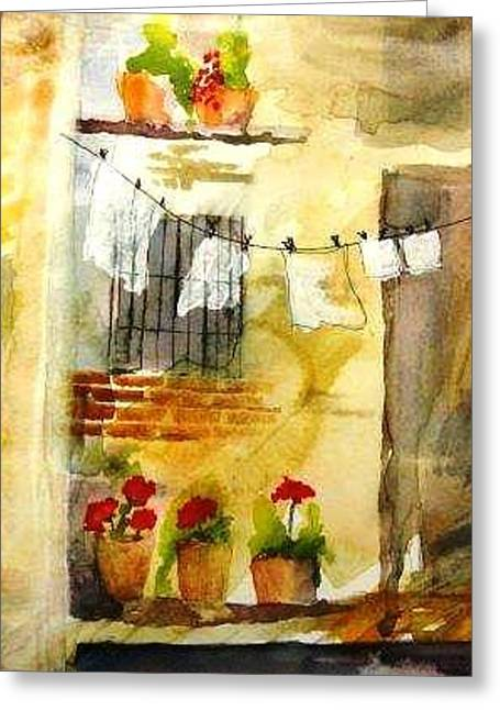 Laundry Greeting Card by Sandi Stonebraker