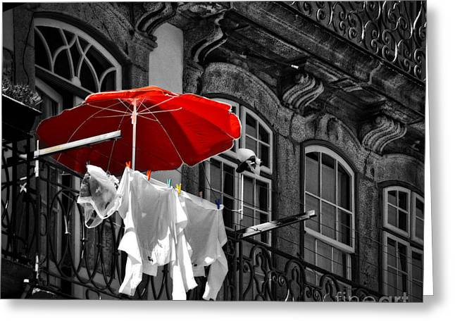 Laundry With Red Umbrella In Porto - Portugal Greeting Card