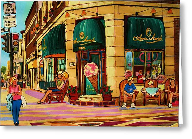 Laura Secord Candy And Cone Shop Greeting Card by Carole Spandau