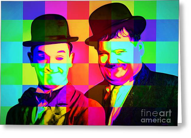 Laurel And Hardy 20160102 Colorsquares Greeting Card by Wingsdomain Art and Photography