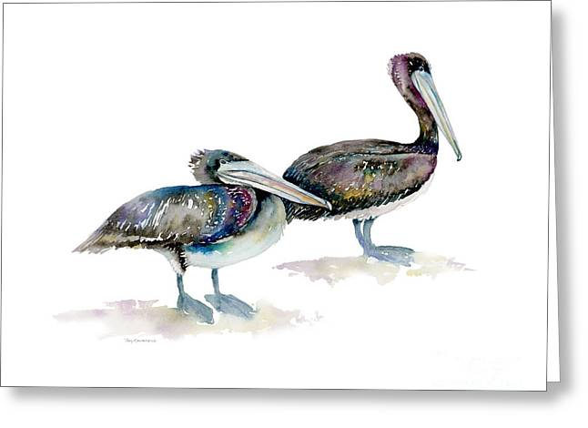 Laurel And Hardy, Brown Pelicans Greeting Card