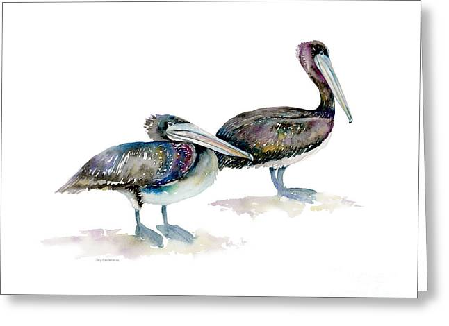 Laurel And Hardy, Brown Pelicans Greeting Card by Amy Kirkpatrick