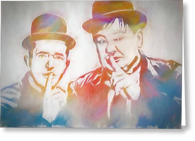 Laurel And Hardy Greeting Card by Dan Sproul