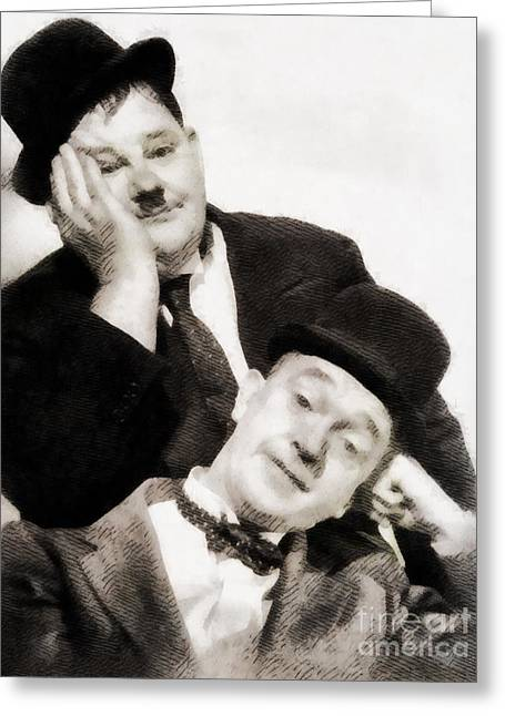Laurel And Hardy, Vintage Comedians Greeting Card