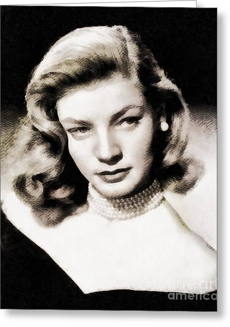 Lauren Bacall, Hollywood Legend By John Springfield Greeting Card by John Springfield