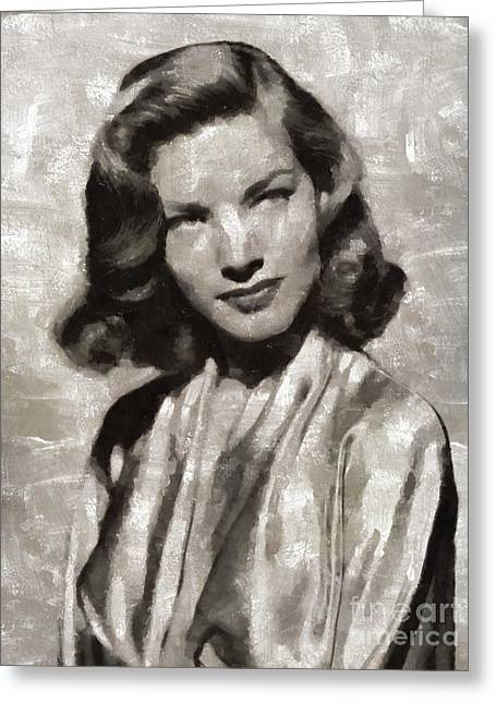 Lauren Bacall, Hollywood Legend By Mary Bassett Greeting Card by Mary Bassett