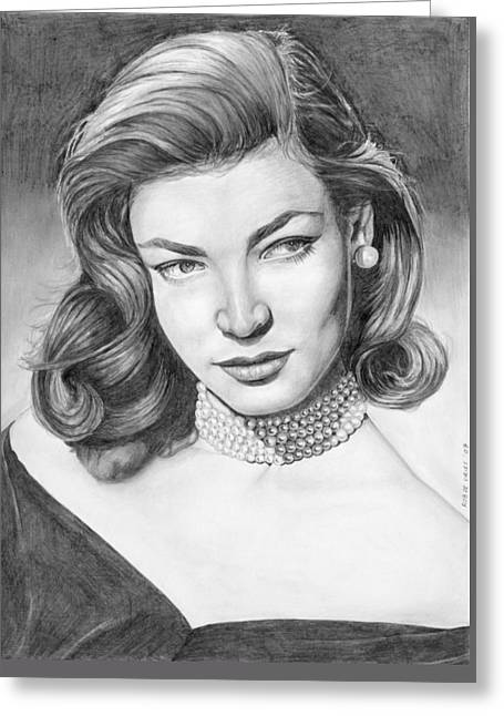 Lauren Bacall Greeting Card by Rob De Vries