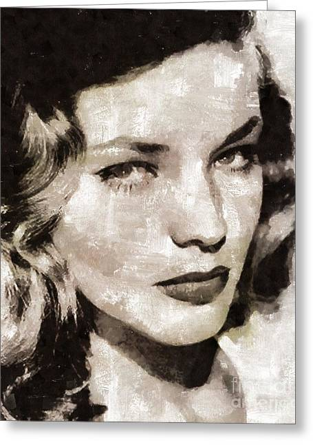 Lauren Bacall, Vintage Actress. By Mary Bassett Greeting Card by Mary Bassett