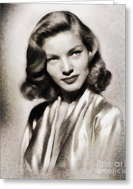 Lauren Bacall, Vintage Actress Greeting Card by John Springfield