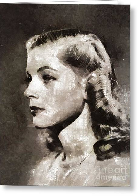 Lauren Bacall, Vintage Actress Greeting Card by Mary Bassett