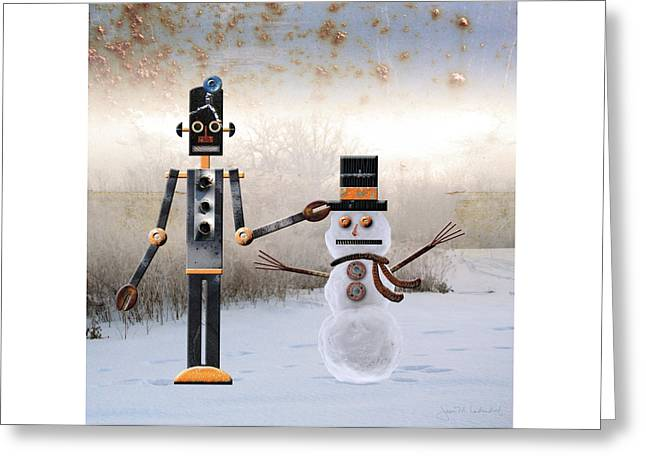 Laurence Builds A Snowman Greeting Card by Joan Ladendorf