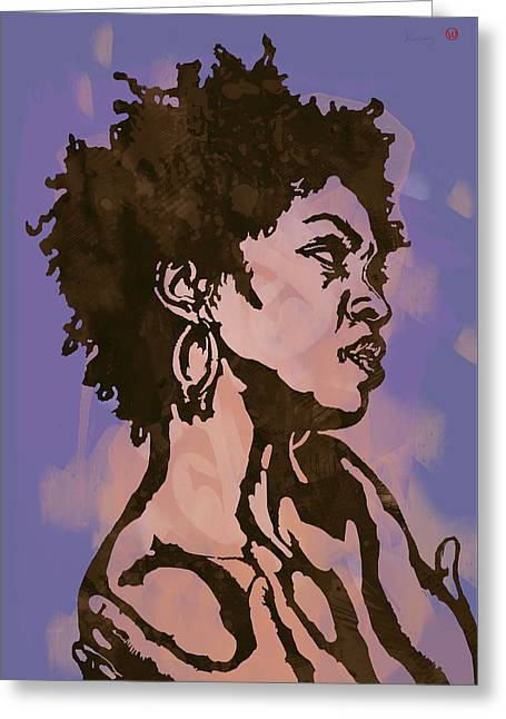 Lauryn Hill Pop Stylised Art Sketch Poster Greeting Card by Kim Wang