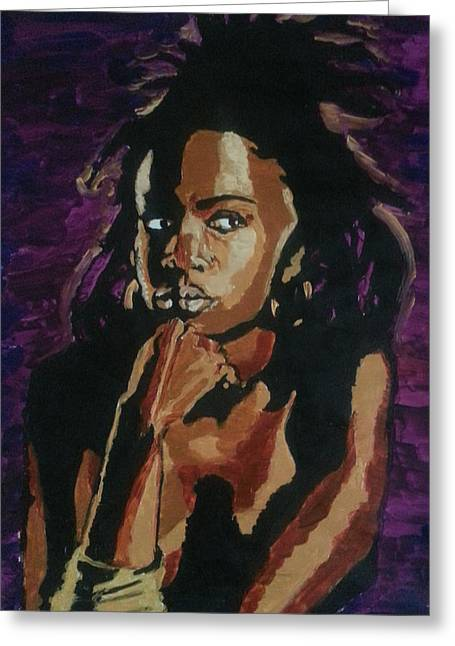 Lauryn Hill Greeting Card by Rachel Natalie Rawlins