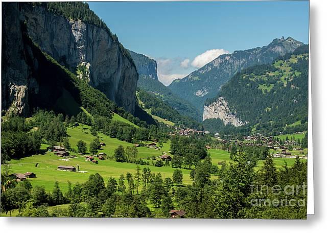Lauterbrunnen Mountain Valley - Swiss Alps - Switzerland Greeting Card by Gary Whitton