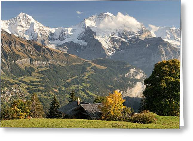 Lauterbrunnen Valley With Mt Eiger, Mt Greeting Card by Panoramic Images