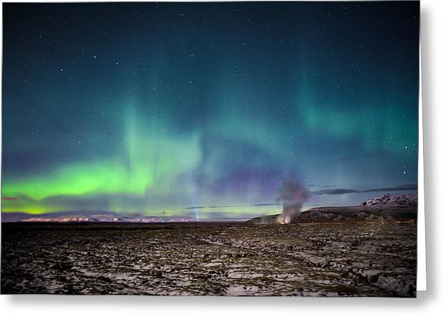 Lava And Light - Aurora Over Iceland Greeting Card
