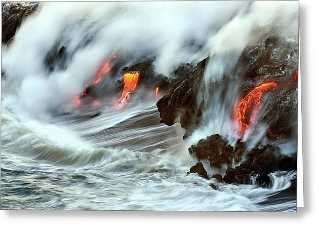 Lava And Ocean Greeting Card