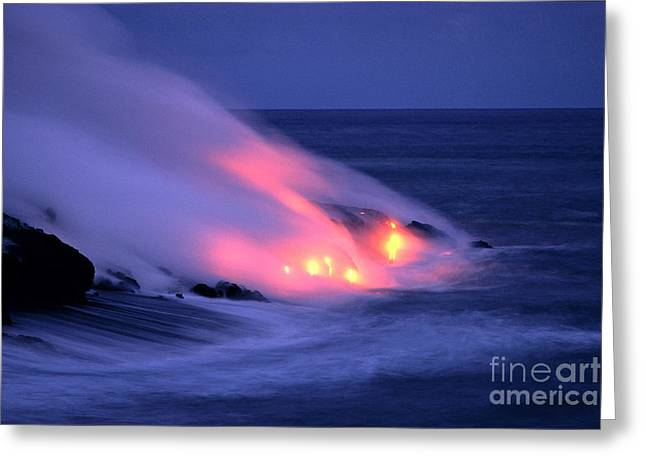 Lava And Pink Smoke Greeting Card by William Waterfall - Printscapes
