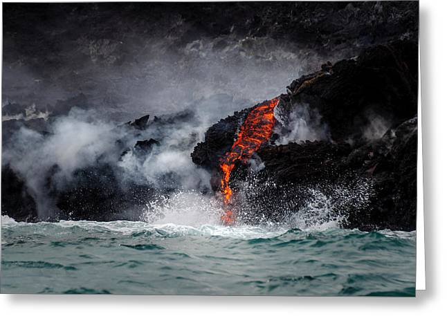 Lava Dripping Into The Ocean Greeting Card