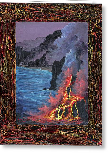 Greeting Card featuring the painting Lava Flow by Darice Machel McGuire