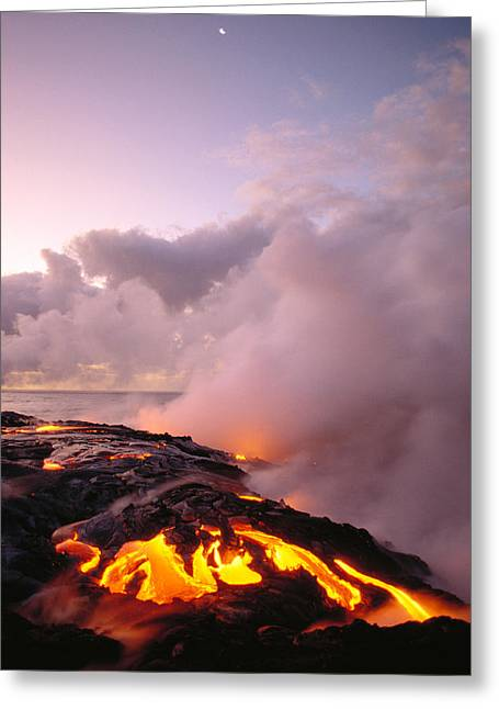 Pele Greeting Cards - Lava Flows At Sunrise Greeting Card by Peter French - Printscapes