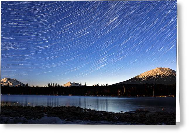 Greeting Card featuring the photograph Lava Lake Star Trails by Cat Connor
