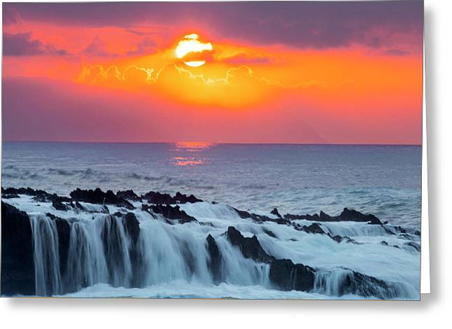 Lava Rock And Vog Sunset Greeting Card by Sean Davey