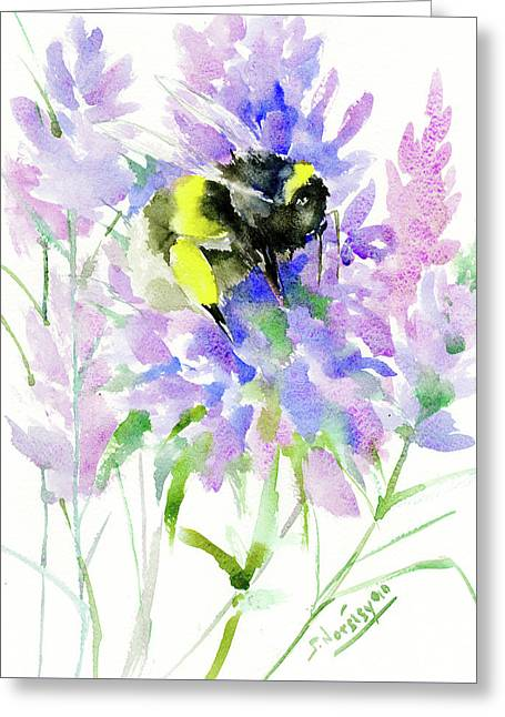 Lavender And Bumblebee Greeting Card by Suren Nersisyan