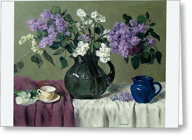 Lavender And White Lilacs With Blue Creamer And Teacup Greeting Card