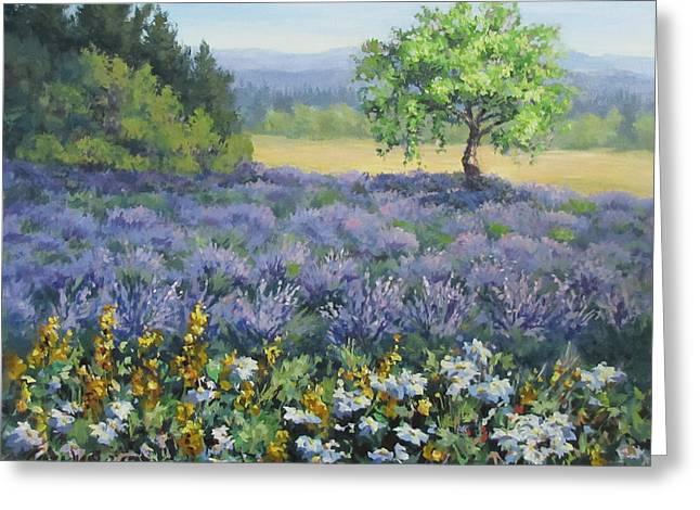 Lavender And Wildflowers Greeting Card by Karen Ilari