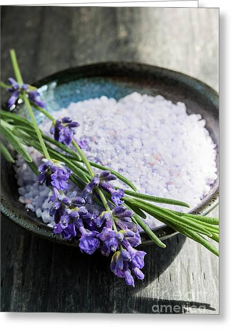 Lavender Bath Salts In Dish Greeting Card