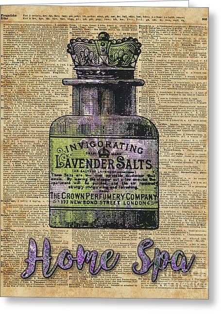 Lavender Bath Salts Old Book Page Vintage Illustration Greeting Card by Jacob Kuch
