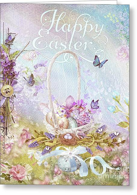 Greeting Card featuring the mixed media Lavender Easter by Mo T