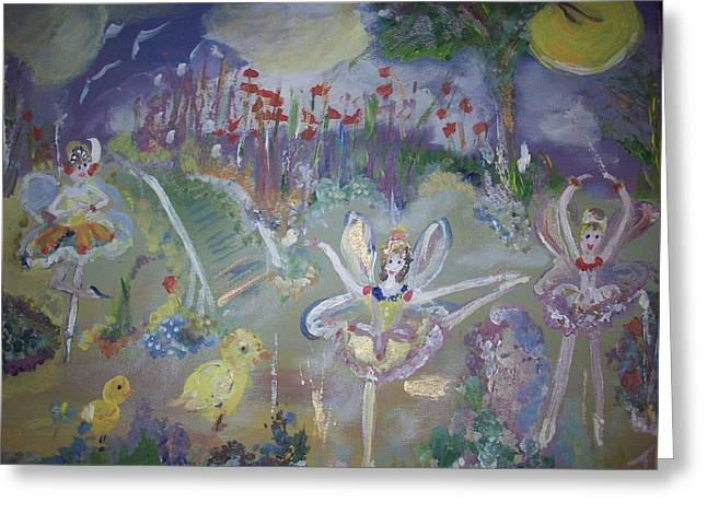 Greeting Card featuring the painting Lavender Fairies by Judith Desrosiers