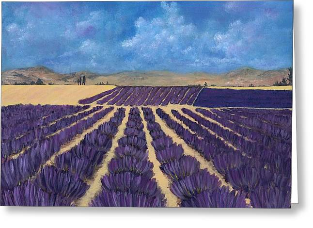 Greeting Card featuring the painting Lavender Field by Anastasiya Malakhova